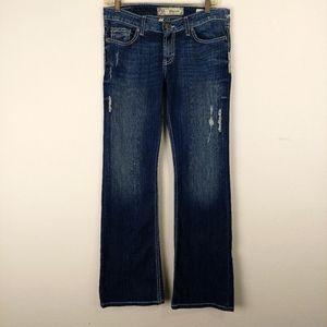Bke Denim Madison Flare Distressed Stretch Jeans